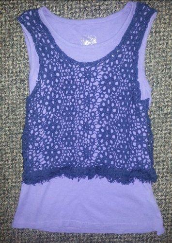 JUSTICE Purple Crochet Layered Sleeveless Tank Girls Size 7