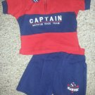 SMALL STEPS Red and Navy Marine Captain Short Set Boys Size 24 months