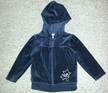 OSH KOSH Black Velour Hooded Jacket Girls Size 3T