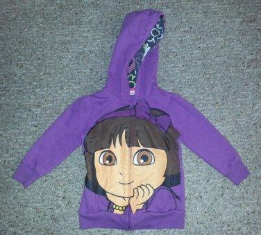 Purple DORA THE EXPLORER Hooded Zip Front Jacket Girls Size 2T