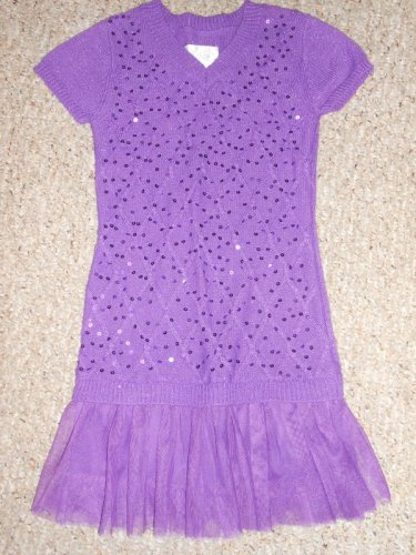 JUSTICE Purple Sequins and Tulle Short Sleeved Knit Dress Girls Size 8