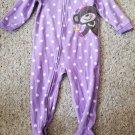 CARTER'S Purple Polka Dot Princess Monkey Blanket Sleeper Girls 18 months