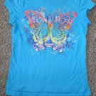 THE CHILDREN'S PLACE Blue Short Sleeved Butterfly Top Girls Size 7-8