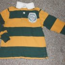 ARIZONA Green and Yellow Striped Long Sleeved Rugby Top Boys Size 5T