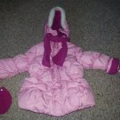 ZEROXPOSUR Hooded Pink Puffer Winter Parka Scarf and Mittens Girls Size 2T