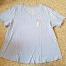 NWT Blue FADED GLORY Short Sleeved Top Womans Plus Size 4X 26W 28W