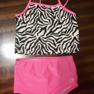 Black and White Animal Print OP Tankini Bathing Suit Girls Size 4T