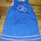SO 4th Star Embellished Sleeveless Denim Jumper Dress Girls Size 4T