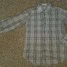 Brown Plaid CALVIN KLEIN Long Sleeved Button Front Shirt Boys Size 12 Slim Fit