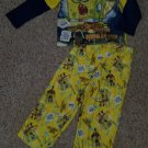 SPONGEBOB SQUAREPANTS Yellow Flannel Pajamas Boys Size 4