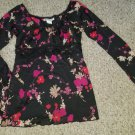 SELF ESTEEM Black Floral Sequined Peasant Long Sleeved Top Ladies MEDIUM