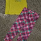 JUMPING BEANS Yellow and Plaid Short Sleeved Leggings pant Set Girls Size 4T