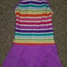 LANDS END Purple Striped Lined One Piece Skirted Bathing Suit Girls Size 8