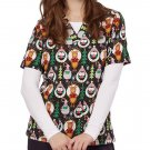 BRAND NEW FA LA LA TAFFORD Christmas Scrub Top Plus Size 2X