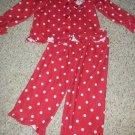 CARTER'S Red Polka Dot SANTA Flannel Pajamas Girls Size 3T