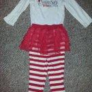 CARTER'S Red and White Santa's Little Helper Tutu Legging Pant Set Girls 18 months