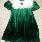 RARE EDITION White Lace and Green Velvet Short sleeved Dress Girls Size 5 NEW