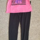 CITY STREETS Black and Pink Leggings and Top Juniors Medium Size 7-9