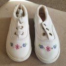 BALLOONS White Leather Floral Accent Sneakers Toddler Girls Size 7