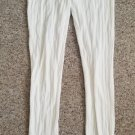 SO White Patterned Ribbed Footless Tights Leggings Juniors Size Medium