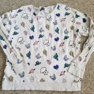 DIVIDED by H&M Kitty Lips Hearts Print Long Sleeved Top Ladies Juniors LARGE