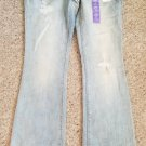 NWT Faded and Distressed L.E.I. Denim Jeans Low Rise Slim Bootcut Size 7