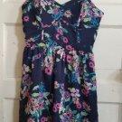 CANDIE'S Blue Floral Print Sundress MEDIUM Attached Bra
