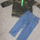 NWT CARTER'S Camo Fleece Top and Denim Jeans Boys Size 9 months