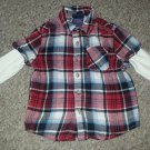 CHEROKEE Layered Look Red plaid Flannel Shirt Boys Size 24 months