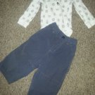 OLD NAVY Gray Pants CARTER'S Bear Print Waffle Weave Top Boys 18 months