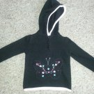 FADED GLORY Black Hooded Knit Butterfly Pullover Girls 24 months