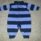 LANDS END Blue Striped Long Sleeved Pants Romper Boys Size 3-6 months