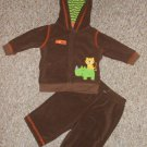 CARTER'S Wild For Mom Brown Hooded Fleece Pant Set Boys Size 3 months
