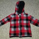 GARANIMALS Red and Black Plaid Fleece Hooded Zip Front Jacket Boys 12 months