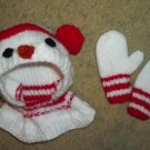 Handmade Red and White SNOWMAN Hat and Mittens Set Fits up to 12 months