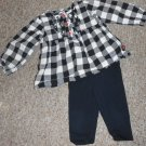 CARTER'S Black and White Checked Leggings Pant Set Girls Size 18 months