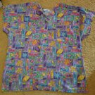SB FASHION SCRUBS Spring Floral Print Scrub Top Ladies LARGE