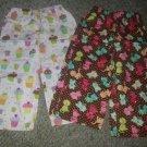 Homemade Cupcake Print and Kitty Print Lot of Sleep Pants Girls Size 2T 3T
