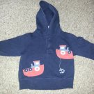 GYMBOREE Navy Blue Tugboat Hooded Pullover Boys Size 12-24 months