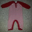 CHEROKEE Red Striped Knit One Piece Romper Size 0-3 months