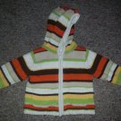 SECOND STEP Striped Hooded Heavyweight Cardigan Sweater Size 12 months