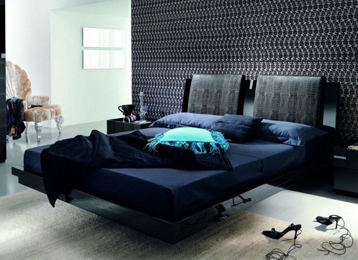 Platinum Modern Black Crocodile Leather Platform Bed