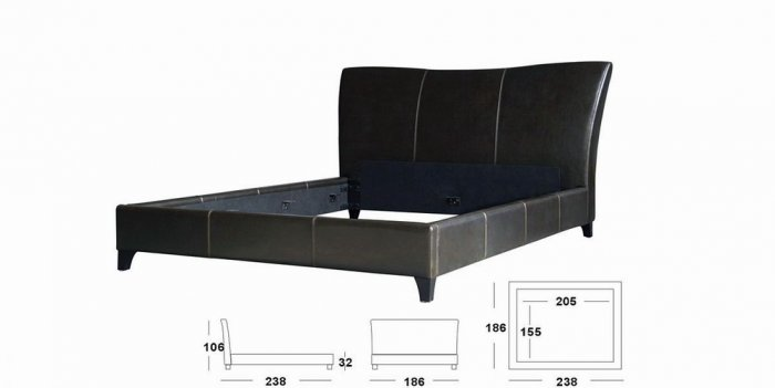 Ascella Modern Leather Queen Size Bed