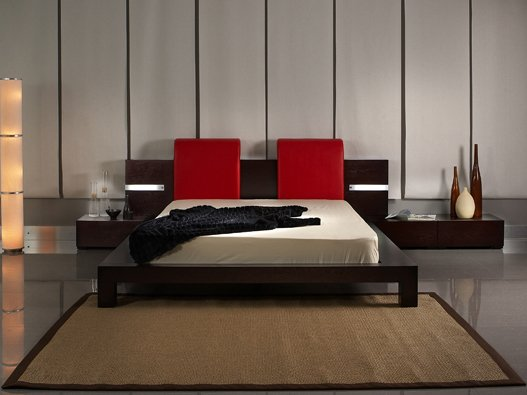 Modern Aveline Bed w/ Lighting In Headboard