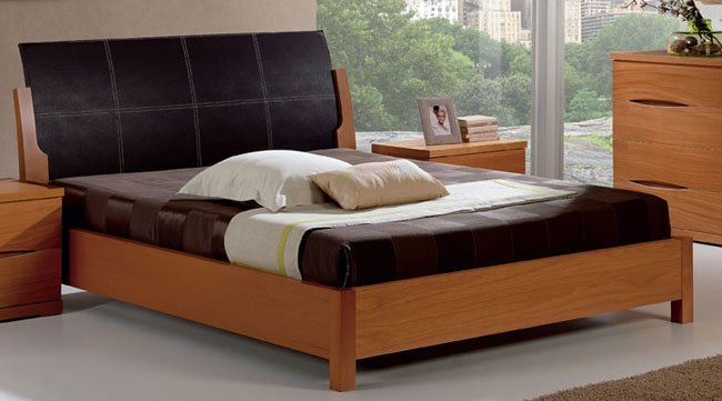 Berta  Platform Bed with Leather Headboard
