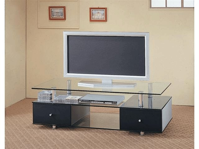 Ada Black Drawers and Clear Glass Tv Stand