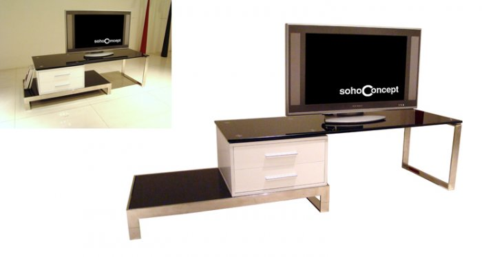 Aloisio TV Stand with Black Tempered Glass