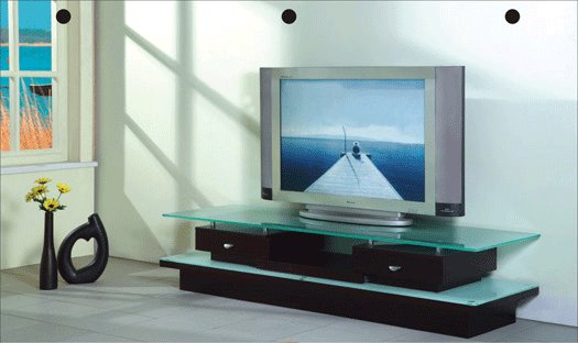 Barton Dark Color TV Stand  with Glass Top