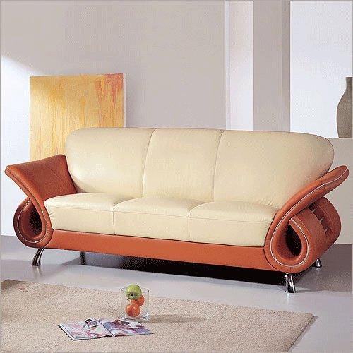 Modern Dual Colored or Black Leather Sofa
