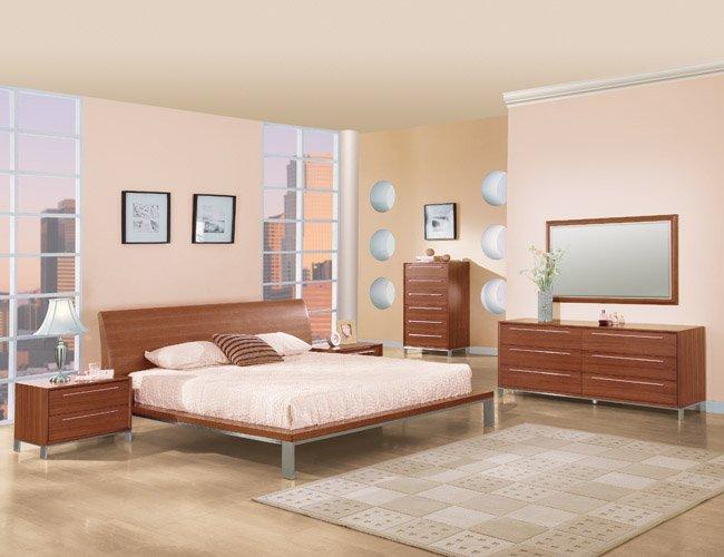 CR_Minotti //  Modern Style Walnut Curved Headboard Platform Bedroom Minotti